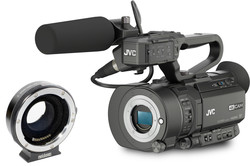 JVC GY-LS300CHE + Metabones EF to MFT Smart Adapter