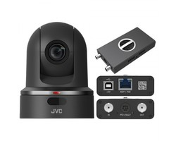 JVC KY-PZ100BENDI Robotic PTZ Network video production camera (black)- bundle package with external NDI converter