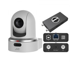 JVC KY-PZ100WENDI Robotic PTZ Network Video Production Camera (white) - bundle package with external NDI converter
