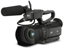 JVC GY-HM250E - 4K Live Streaming Camcorder with Broadcast Graphics + Microphone JVC QAN0067-003