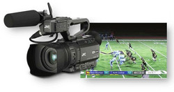 JVC GY-HM200ESB Streaming camera with sports score and broadcast info overlay