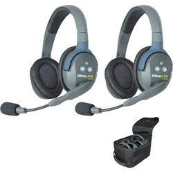 Eartec UltraLITE UL2D HD Kit - 2x Double Ear Ultralite Headphones, case, charger