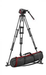 Manfrotto 504 Video Head with CF Twin Leg Tripod GS 100/75mm
