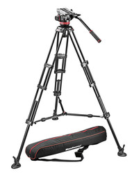 Manfrotto 504HD,546BK - 2-Stage Aluminum Tripod System with Mid Level Spreader