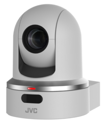 JVC KY-PZ100WEBC Robotic PTZ network video production camera (white) - With Broadcast Info Graphic Overlay